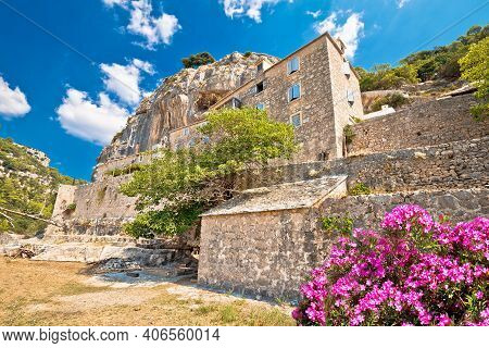 Pustinja Blaca Hermitage Hidden In Stone Desert Canyon Of Brac Island, Dalmatia Archipelago Of Croat
