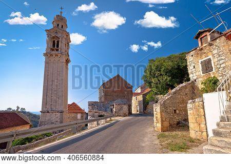 Village Of Lozisca On Brac Island Stone Street View, Dalmatia Region Of Croatia