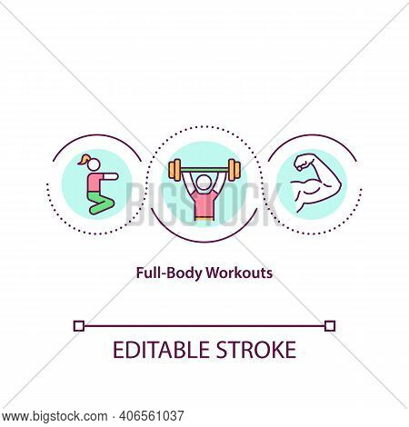 Full Body Workouts Concept Icon. Type Of Training Plan Where Every Muscle Of Human Body Is Trained.