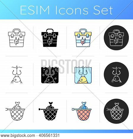 Fishing Equipment Icons Set. Fishing Lounger Chair. Cooking Freshly Caught Fish. Fish Finder, Tools.