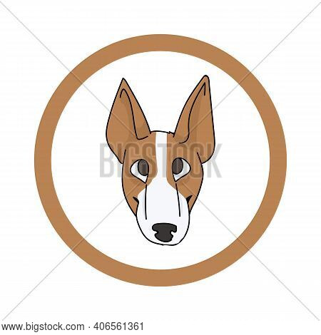 Cute Cartoon Bull Terrier Face In Circle Puppy Vector Clipart. Pedigree Kennel Doggie Breed For Kenn