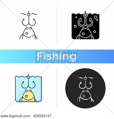Hooks Icon. Fish Try To Bite Hook. Fish Ate The Bait Got Hooked. Process Of Catching Fish. Decisive