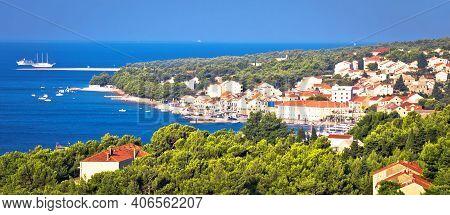 Bol On Brac Island. Panoramic View Od Bol And Zlatni Rat Beach, Island Of Brac, Archipelago Of Dalma