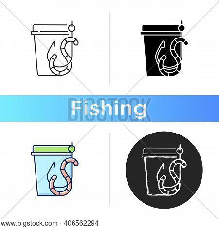 Live Bait Icon. Worm On Hook. Fishing Equipment. Basic Fishing Baits. Fishing Tournament., Tool. Fis
