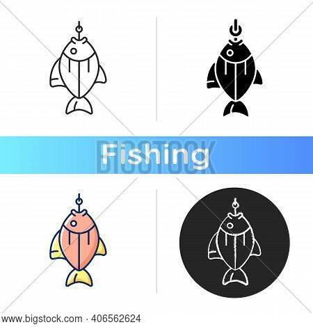 Fish On Hook Icon. Fishing Tournament. Anglers Trophy. Sea Food Restoration. Commercial Fishing Proc
