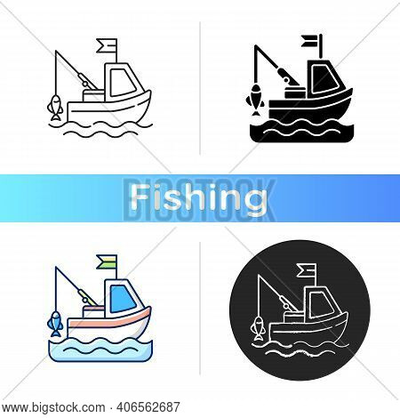 Boat Fishing Icon. Commercial Fishing. Fresh Sea Food. License For Fishing From Boat. Fishing Trawle