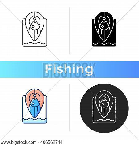 Fishing Spot Icon. Navigation Tip For Finding Top Fishing Place. Point On Map. Hobby And Leasure Act