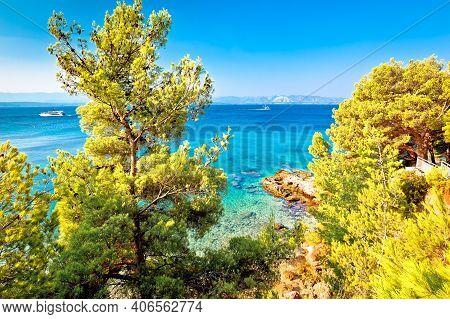 Secret Hidden Turquoise Beach Yachting And Sailing Destination In Bol, Island Of Brac, Archipelago O
