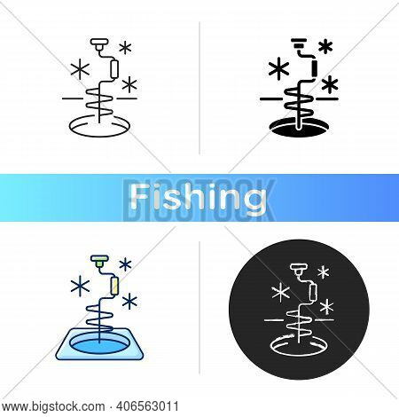Ice Fishing Icon. Drill Hole Gear. Active Rest. Winter Fisher Tournament. Fishers Equipment. Fishery