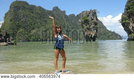 Little Girl Tourist Relaxing And Posing On James Bond Island, Phuket, Thailand. Amazing Nature Sea B