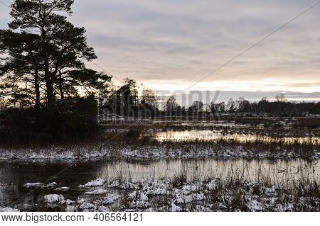 Flooded Winter Landscape In The World Heritage Site Stora Alvaret On The Island Of Oland In Sweden