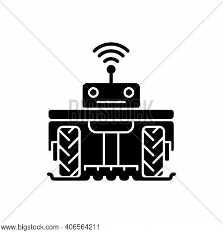 Robotics In Agriculture Black Glyph Icon. Automation In Agronomy Industry. Engineering In Biotechnol