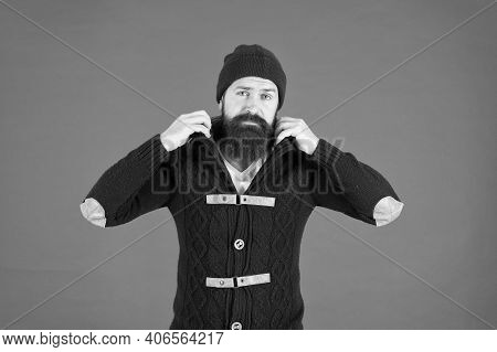 Male Fashion Concept. Fashion Trend. Casual Clothes For Winter Season. Man Bearded Hipster Stylish F