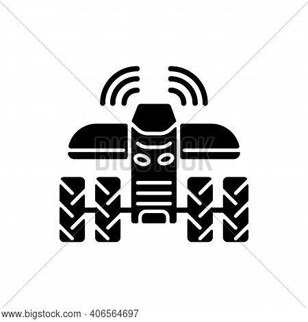 Driverless Tractors Black Glyph Icon. Autonomous Farm Vehicle. Agricultural Technology. Self-driving