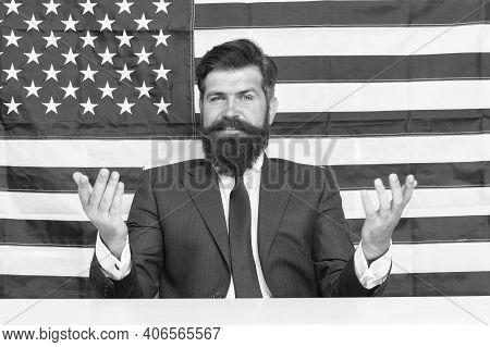 Man American Presenter Anchorman In Studio, Fresh News Concept.