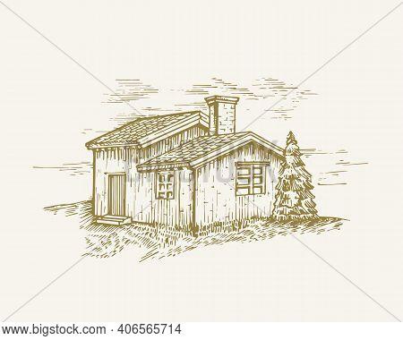 Hand Drawn Rural Buildings Landscape Vector Illustration. Wood Cabin And Pine Tree Sketch. Village H