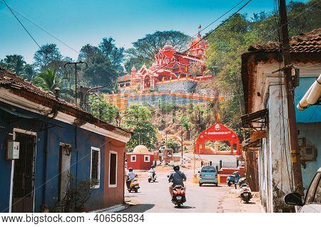 Panaji, Goa, India - February 19, 2020: Traffic On Road To Hindu Maruti Temple Or Hanuman Temple Is