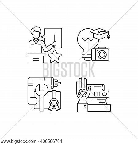 Knowledgeable Presenter Linear Icons Set. Photography Workshop. Workshop Icons. On-demand Webinar .