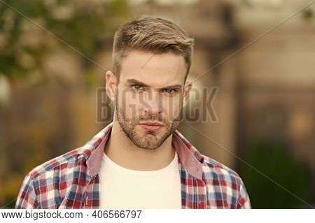 Good Looking Guy. Facial Care. Charismatic Fashion Model. Handsome Unshaven Man Outdoors. Man Wear C