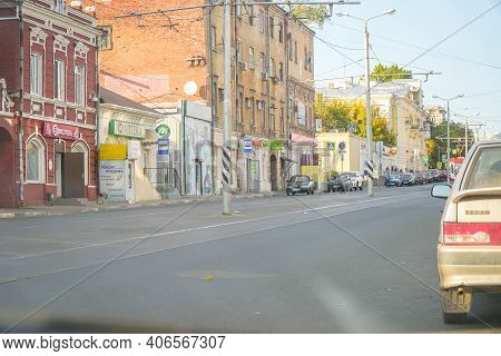 Samara, Russia - September 18, 2019: Old Town Samara. Galaktionovskaya Street Near Trinity Market