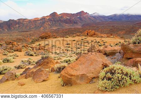 Volcanic Landscape In Pico Del Teide, National Park, Tenerife Canary Islands, Spain