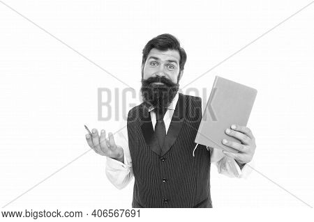 Doubting Hipster Teacher Hold Writing Pen And School Book, Education In Library.