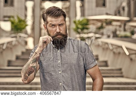 Bearded And Brutal. Bearded Man Urban Outdoor. Hipster With Bearded Look. Shaving Salon. Beard Barbe