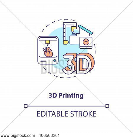 3d Printing Concept Icon. Industry 4.0 Idea Thin Line Illustration. Additive Manufacturing Process.