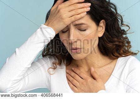 Breathing, Respiratory Problem, Asthma Attack, Pressure, Chest Pain, Sun Stroke, Dyspnea Concept. St