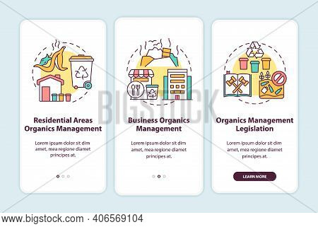 Organic Waste Diversion Initiatives Onboarding Mobile App Page Screen With Concepts. Legislation, Bu