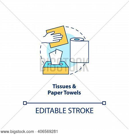 Tissues And Paper Towels Concept Icon. Food-spoiled Paper Waste Idea Thin Line Illustration. Used Na