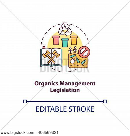Organics Management Legislation Concept Icon. Composting Permits And Regulations Idea Thin Line Illu