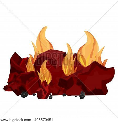 Pile Of Coal, Charcoal Burning In Flame Isolated On White Background. Detailed, Bright Bonfire In Ca