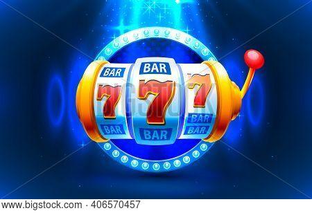 Slot Machine Coins Wins The Jackpot. 777 Big Win Casino Concept. Vector
