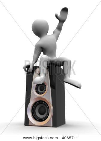 Man Sitting On Loudspeakers