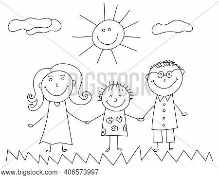 Happy Family Kids Doodle. Kid Drawing With Family. Illustration Of Happy Cartoon Family With Child.