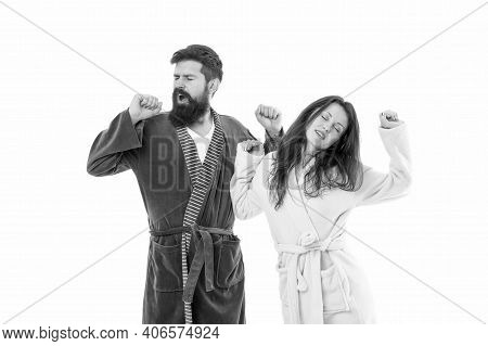 Perfect Wakeup Of Family Couple. Woman And Man In Bathrobe Isolated On White. Good Morning. Cosy Day
