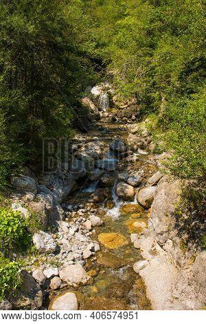 The Torrente Aupa River In The Moggio Udinese Area Of Udine Province, Friuli-venezia Giulia, North E