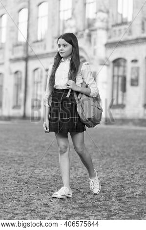 Back To School Style. Little Child Back To School. Small Girl Wear School Uniform. Back To Learning.