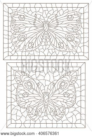 Set Of Contour Illustrations In Stained Glass Style With Butterflies In Frames, Dark Contours On A W