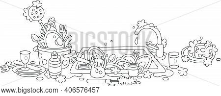 Dishes, Pans, Forks And Spoons Washed With Liquid Soap On A Kitchen Table And In A Sink After Dinner
