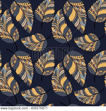 Plumage Seamless Pattern. Vector Isolated Plume On Dark Blue Background. Bright Colored Feathers. De
