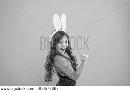 Ive Got Power. Girl Power. Super Kid With Bunny Ears Flex Arm. Happy Child Celebrate Easter. Female