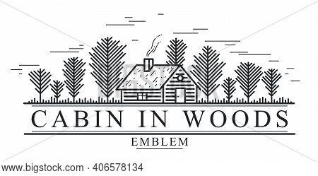 Cabin In Woods Pine Forest Linear Vector Nature Emblem Isolated On White, Log Cabin Cottage For Rest