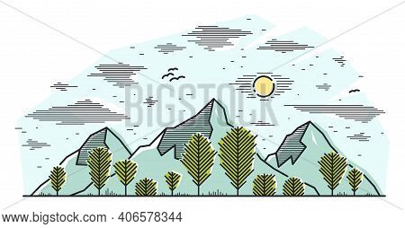 Mountain Peaks And Pine Forest Line Art Vector Illustration Isolated On White, Linear Illustration O