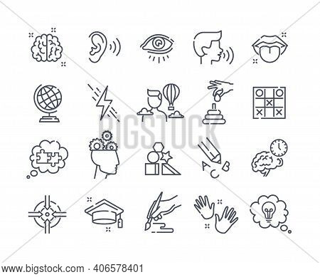 Collection Of Outline Icons. Human Cognitive Abilities And Preschool Development Of Kids. Fine Motor