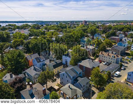 Old Residence Buildings Aerial View In Historic City Center Of Salem In Massachusetts Ma, Usa.