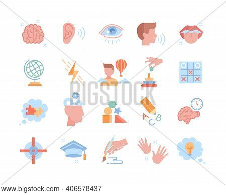 Collection Of Colorful Icons. Human Cognitive Abilities And Preschool Development Of Kids. Fine Moto