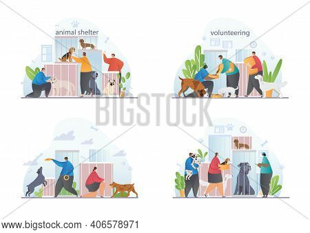 The Concept Of Protection And Love For Animals. Volunteers Take Care Of Animals In Shelters. People