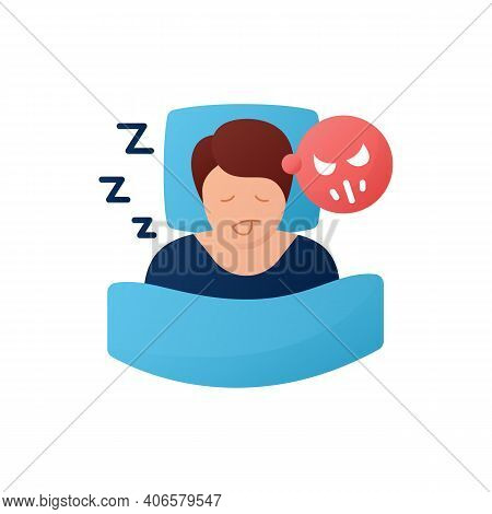 Nightmares Flat Icon. Night Terror. Sleep Disorder. Healthy Sleeping Concept. Sleep Problems Treatme